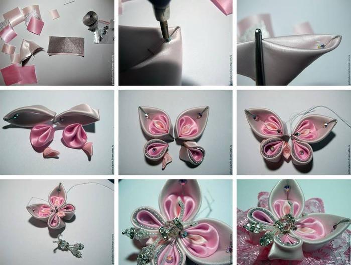 Бабочка из атласных лент своими руками фото 99