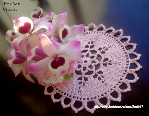 Centrinho Rosa Crochet Doilie e Flor Orquideas (609x473, 697Kb)