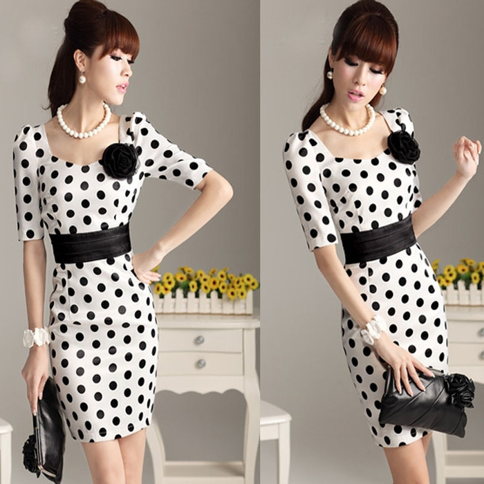 With-Belt--2014-autumn-winter-fashion-white-polka-dot-tight-half-sleeves-square-collar-slim (700x700, 270Kb)