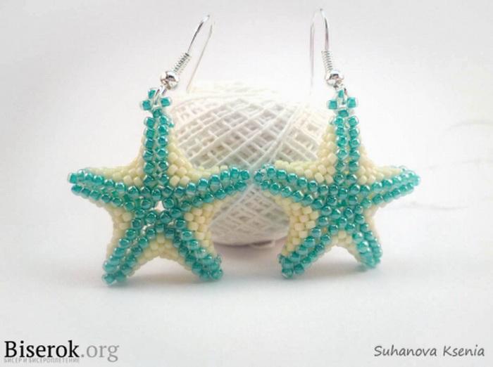 """Прокомментировать запись  """"Мастер-класс  """"Серьги морские звезды.  Бело-зеленые звезды из бисера."""