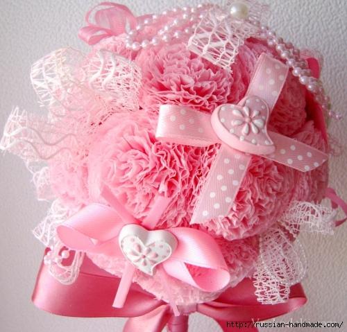 Розовый топиарий из бумажных салфеток (4) (500x479, 210Kb)