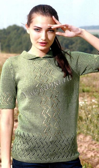 Zelenyi-pulover-spitcami-s-korotkimi-rukavami-ris (412x700, 272Kb)