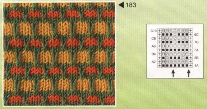 Описание вязания узора со снятыми петлями 11