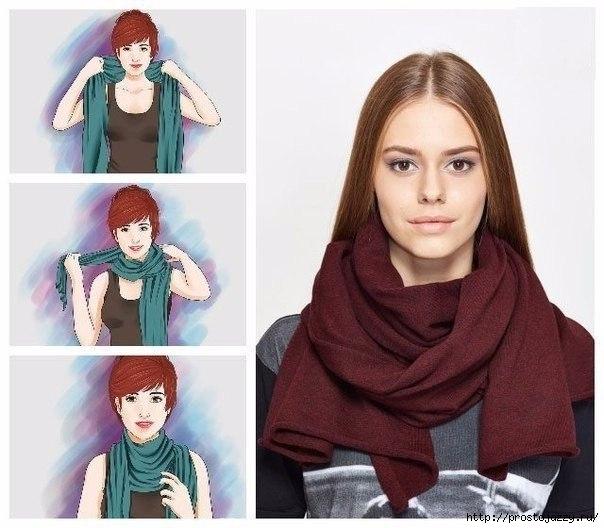 Семь способов носить шарф осенью (604x528, 152Kb)