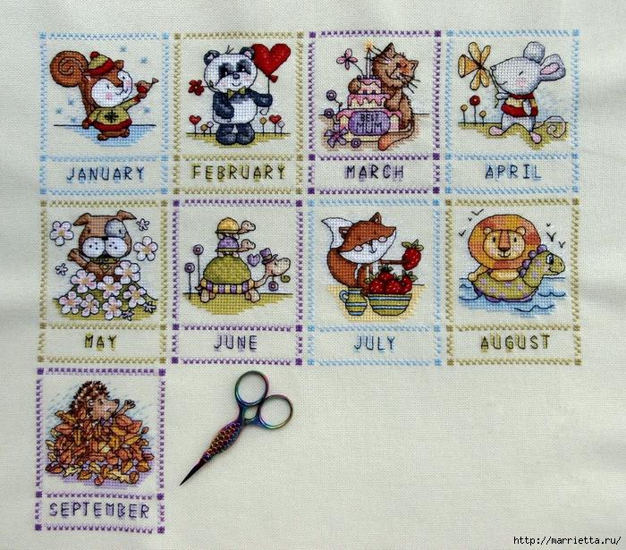 Вышивке крестиком календарь