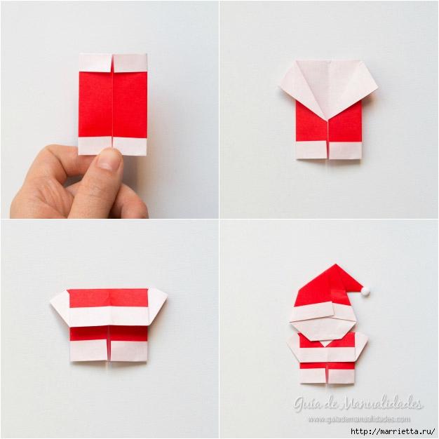 Санта Клаус из бумаги в технике оригами (8) (626x626, 124Kb)