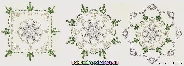 Вязание крючком. Салфетки с розочками (7) (700x251, 146Kb)