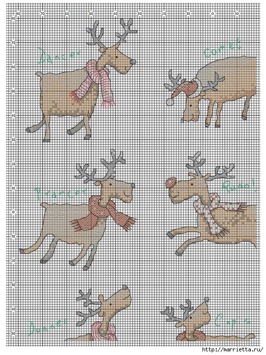 Вышивка крестиком схемы оленей