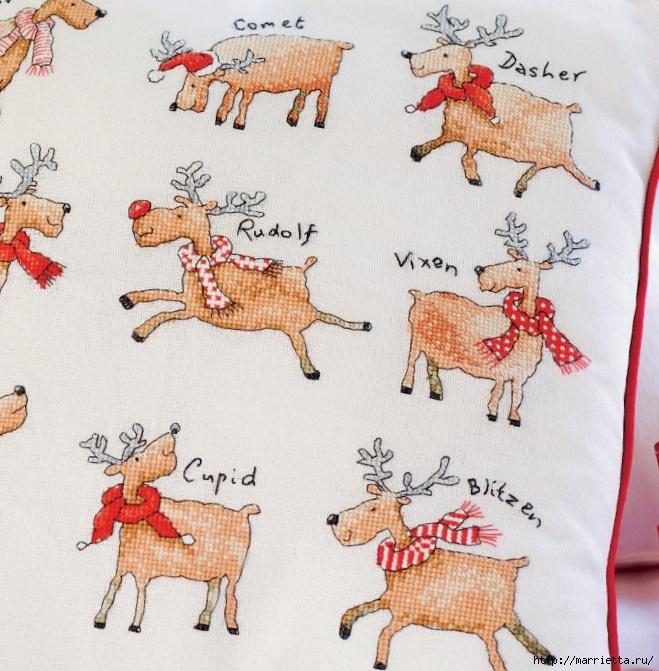 Рождественские олени на подушке. Схемы вышивки крестом (6) (659x671, 311Kb)