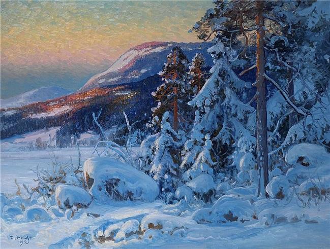 Зимний пейзаж вечером (649x491, 427Kb)