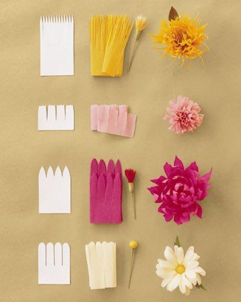 Цветы из гофробумаги своими руками пошаговое фото