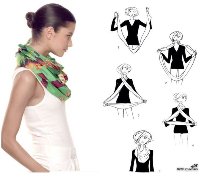 Как завязать платок на шее пошагово