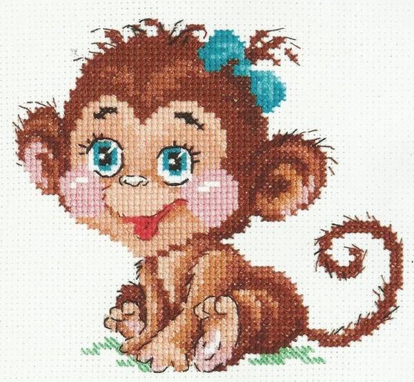 Вышивка крестиком схема обезьяны