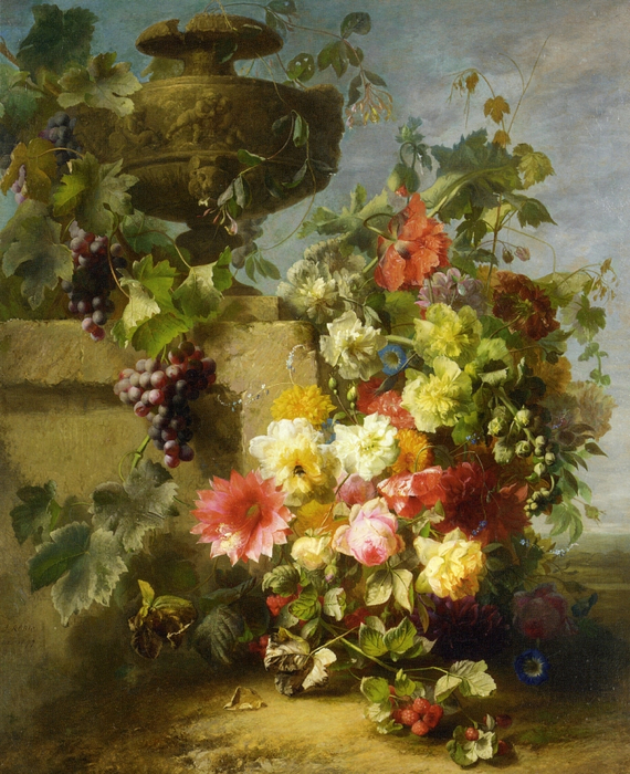 Still Life of Roses, Morning Glories, Chrysanthemums, Forget-me-nots, Grapes and Raspberries by a Decorative Stone Urn on a Ledge in a Landscape (570x700, 528Kb)