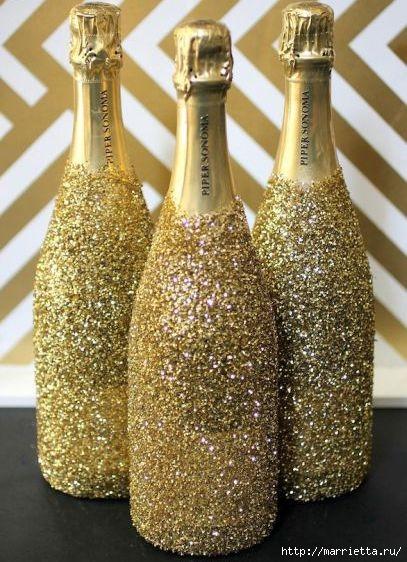 К празднику. Новогодний декор шампанского (4) (407x562, 191Kb)