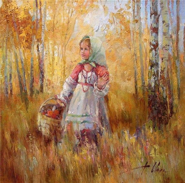 151124230831 Девочка в осеннем лесу - живопись - худож Инесса Морозова (604x598, 143Kb)