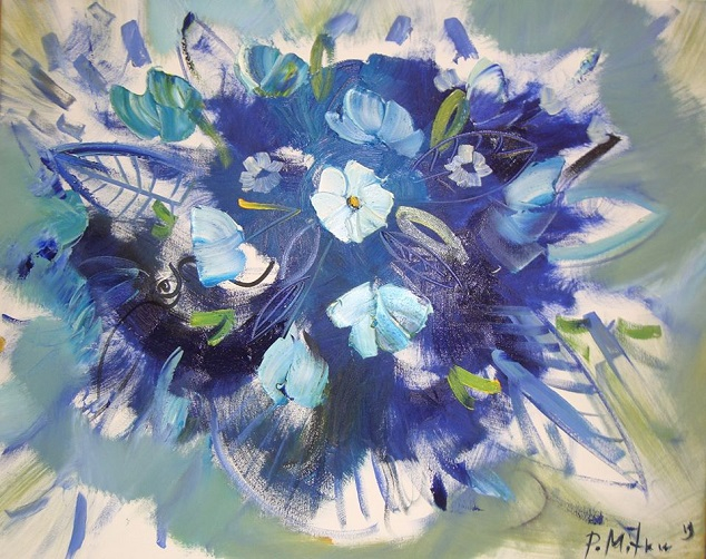 Синие цветы, представляющие мир, открытость и ясность ... (634x502, 384Kb)