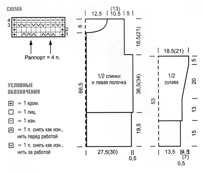Схемы вязания спицами длинных жакетов