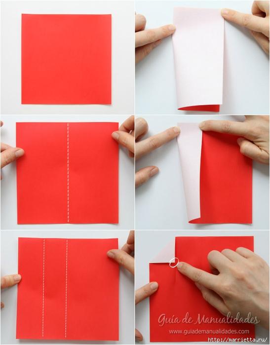 Санта Клауса на санях из бумаги складываем в технике оригами (3) (547x700, 194Kb)