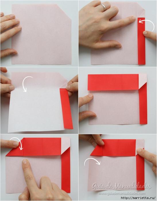 Санта Клауса на санях из бумаги складываем в технике оригами (4) (547x700, 201Kb)