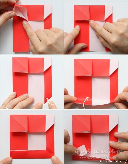 Санта Клауса на санях из бумаги складываем в технике оригами (6) (547x700, 230Kb)