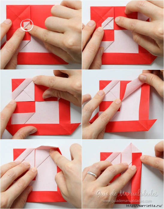 Санта Клауса на санях из бумаги складываем в технике оригами (8) (547x700, 261Kb)