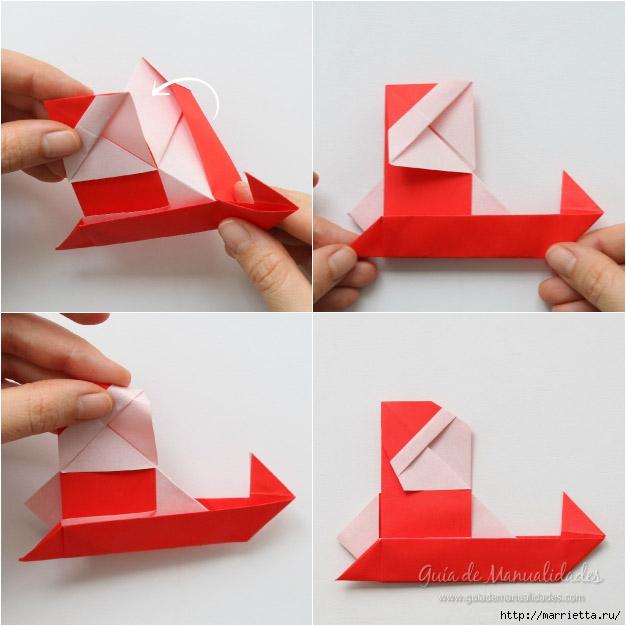 Санта Клауса на санях из бумаги складываем в технике оригами (10) (626x626, 156Kb)