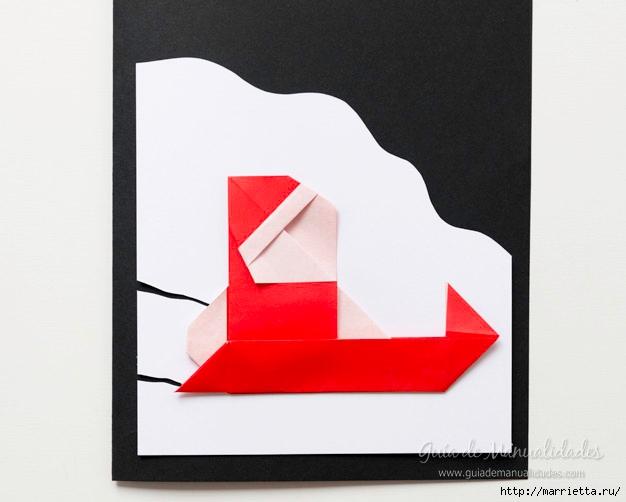 Санта Клауса на санях из бумаги складываем в технике оригами (12) (626x502, 102Kb)