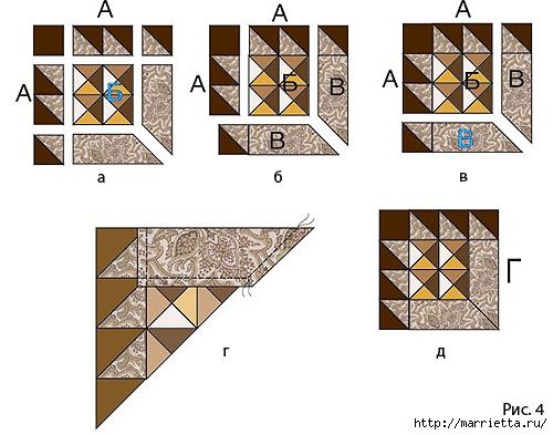 Лоскутная мозаика. Панно ИГРА С УГОЛКАМИ в технике пэчворк (4) (500x393, 134Kb)