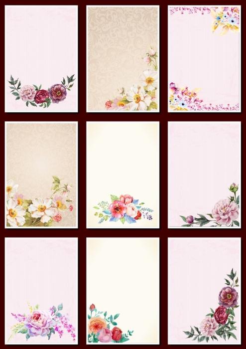 Фоны цветочные для оформления творческих работ, А4. 18  png. Часть 16.