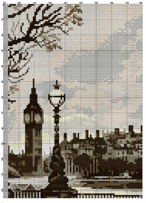 Лондонский дождь вышивка крестом