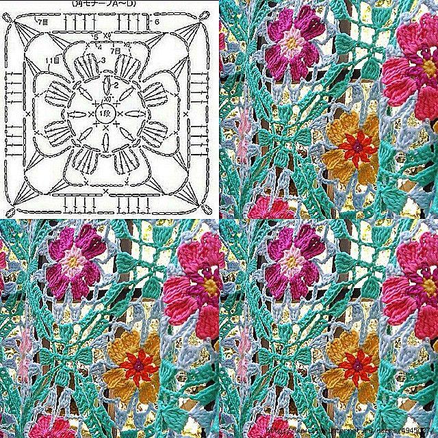 Вязаная штора из цветочных мотивов - сайт для
