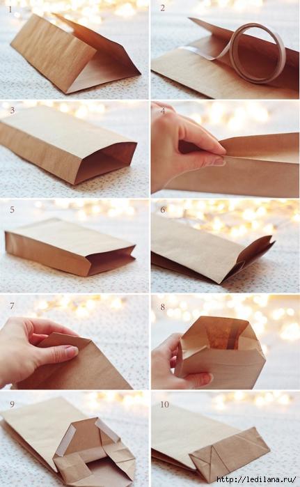 Подарочный пакет из газеты или журнала 5 (431x700, 225Kb)
