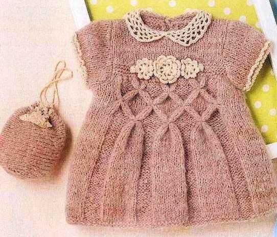 Вязание платьица для малышки спицами 91