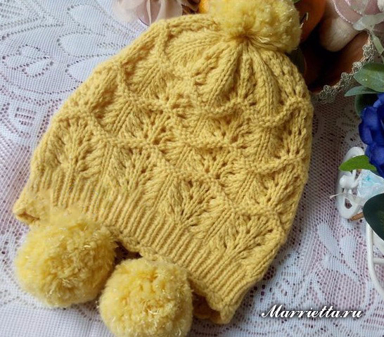 Детская теплая шапочка спицами (1) (546x479, 330Kb)