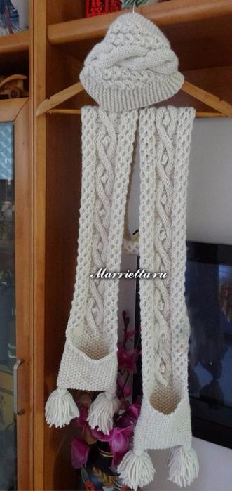 Длинный шарф с карманами. Вязание спицами (10) (331x700, 240Kb)