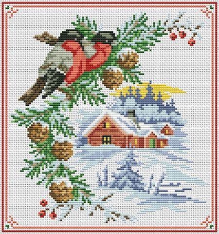 Вышивка схема крестом снегирь бесплатно