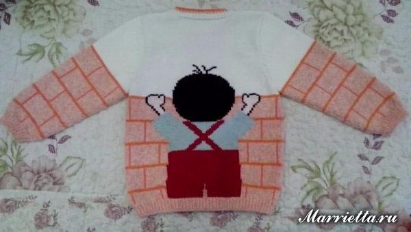 Забавный детский пуловер спицами для мальчика (6) (600x338, 167Kb)