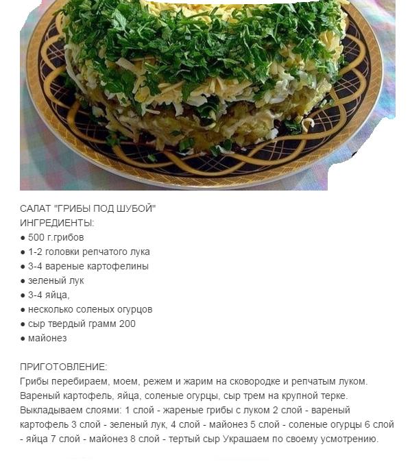 Грибы под шубой рецепт пошаговый