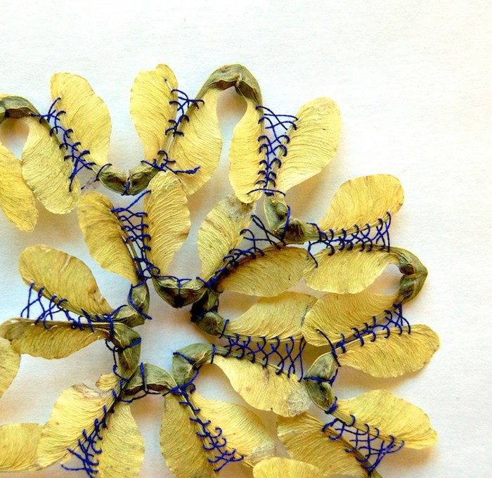 Художница Хиллари Фейл вышивает на листьях растений