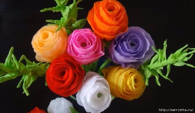 Своими руками букет роз из гофрированной бумаги (3) (679x396, 129Kb)