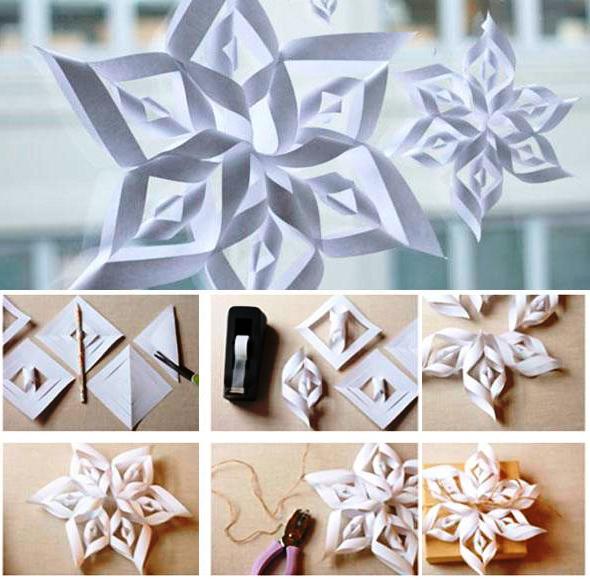 Елочные игрушки своими руками из бумаги снежинки
