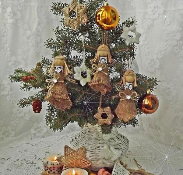 веревка мешковина игрушки елка (601x577, 329Kb)