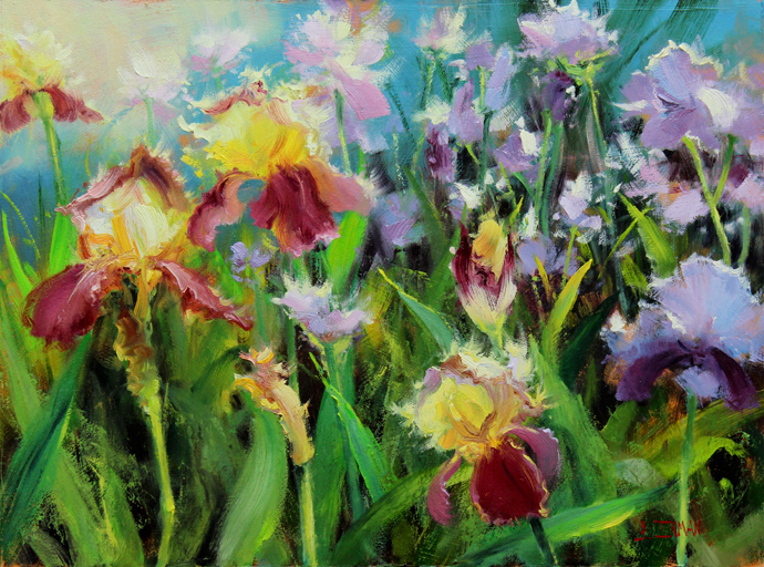 Bill_Inman_Iris_Eyes_Are_Smiling_Irises_12x16_Oil_Painting_large (690x512, 568Kb)