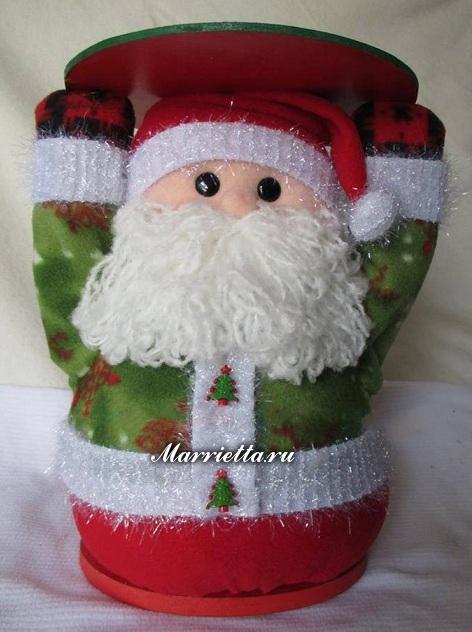 Фетровый снеговик и Санта Клаус - подставки для елочки (1) (472x632, 250Kb)