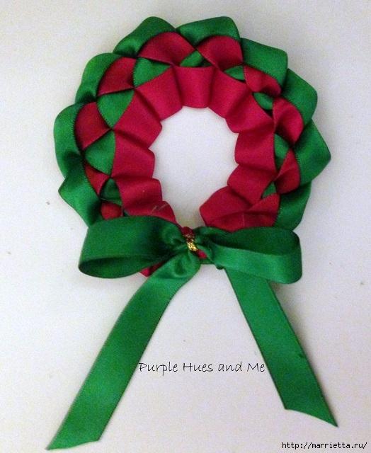Плетение рождественского венка из ленточек. Идея для открытки (18) (524x640, 218Kb)