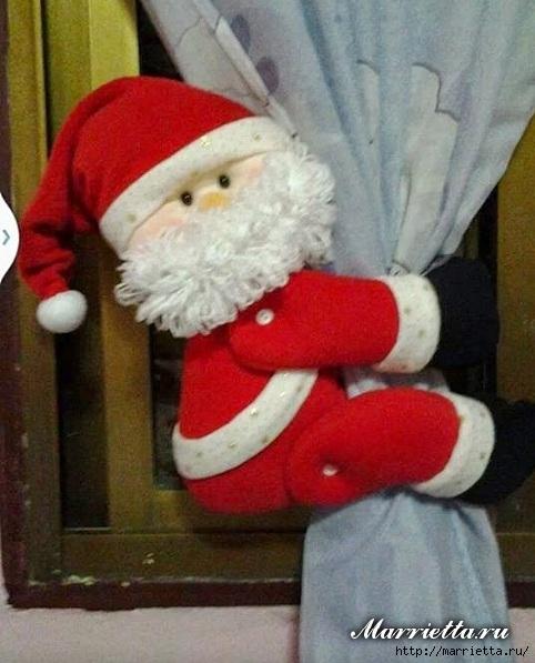 Санта Клаус - зажим для шторы. Выкройка (1) (482x597, 167Kb)