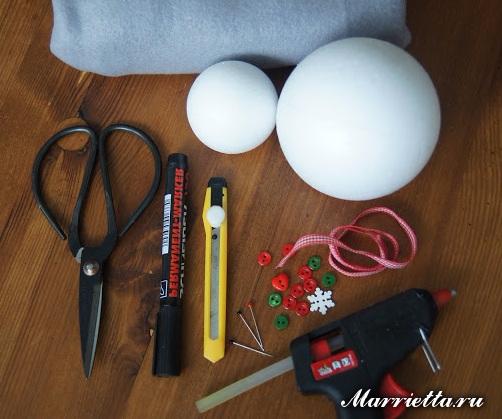 Снеговики из пенопластовых шариков и фетра (1) (502x419, 202Kb)
