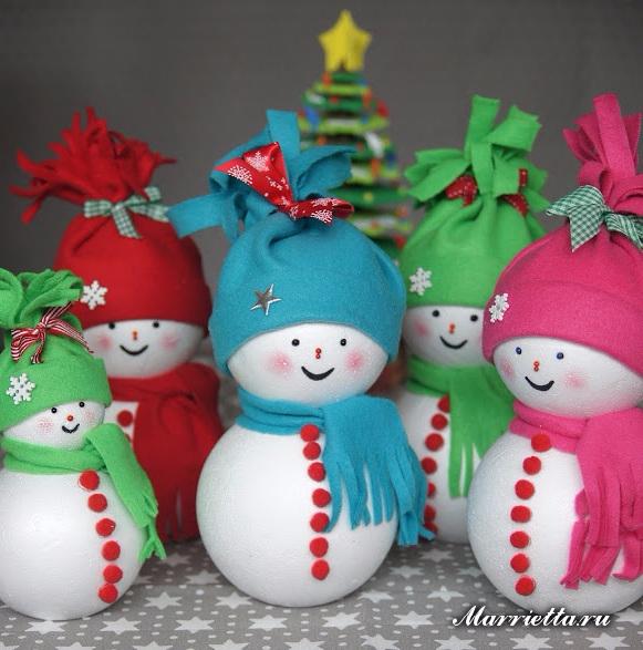 Снеговики из пенопластовых шариков и фетра (6) (581x587, 316Kb)