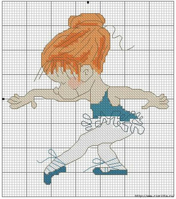 Маленькая вышивка балерины